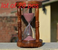 Collectible Vintage Wooden Sand Timer 7 Hourglass Pink Sand Desk Top Home Decor