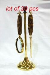 Vintage Brass Magnifying Glass And Letter Opener With Stand Table Top Decorative