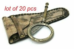 Antique Vintage Brass 5 Magnifying Glass Magnifier With Leather Case Best Gift