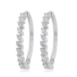 Real 2.30 Tcw Si/hi Marquise Diamond Hoop Earrings Solid 18k White Gold Jewelry