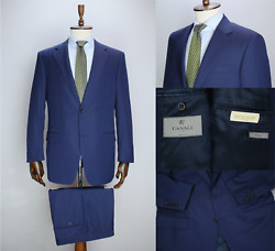 Recent Canali Royal Blue Striped Travel Wool Full Canvas Suit 54it 44us/uk 36x31