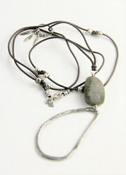 Vintage Jewelry Israel Sterling Silver Leather And Gemstone Artisan Necklace