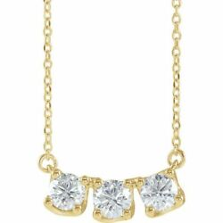 Diamond Three-stone Curved Bar 18 Necklace In 14k Yellow Gold 1.00 Ctw