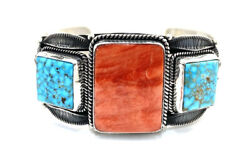 Native American Sterling Silver Spiny Oyster Kingman Turquoise Cuff Bracelet