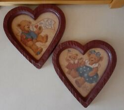 Home Interior Bear Pictures In Heart Shape Frame By Barbara Mock Homco Vtg Euc