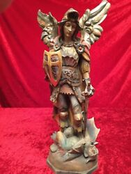 Antique Figure Wood Saint Michael Archangel 21 11/16in From South Tyrol