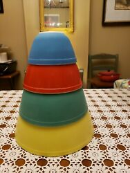 Pyrex Vintage Primary Colors Nesting Bowls Used Please View Photos Thank You