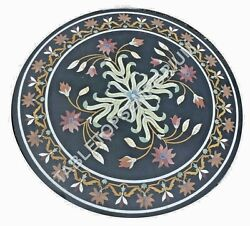 36x36 Round Black Marble Top Dining Garden Table Top Marquetry Inlay Arts E483