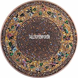 36 Marble Top Dining Table Mosaic Various Stones Art Rare Inlay Outdoor Decor