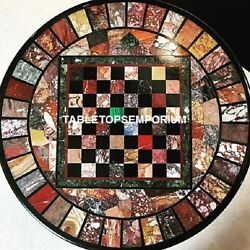 42 Inlaid Marble Chess Play Game Table Multi Stone Work Living Room Decor Art