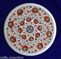 16 White Coffee Tables Top Hakik Floral Semi Precious Marble Marquetry Gifts