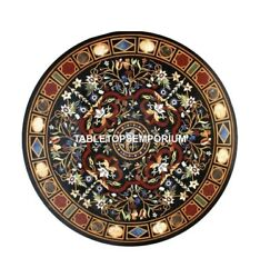 36 Round Marble Dining Table Scagliola Inlay Hallway Outdoor Gift Decor H4414