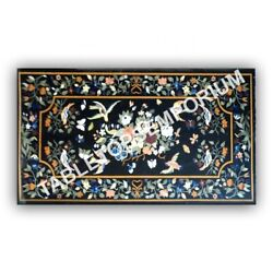 5'x3' Black Marble Dining Hallway Side Table Top Marquetry Floral Inlay Art E971
