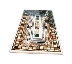 5'x3' White Marble Dining Center Outdoor Table Top Multi Marquetry Inlaid E955