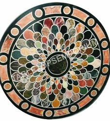 36 Marble Black Round Outdoor Table Dining Top Mosaic Inlay Handmade Decor E487