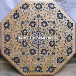 30 Marble Top Coffee Table Mosaic Lapis Inlay Floral Interior Decorative H4038a