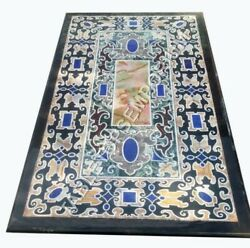 4and039x2and039 Black Marble Dining Counter Height Table Top Marquetry Hallway Decor E494