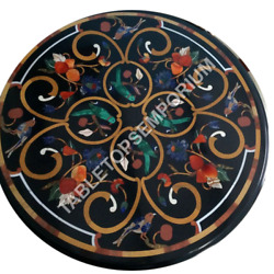 24 Black Marble Outdoor Coffee Table Top Marquetry Inlay Furniture Decor E482