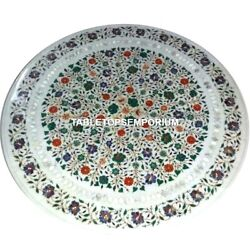 42 Marble Center Dining Table Top Pietra Dura Multi Inlay Floral Décor H4562