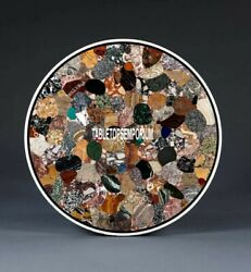 36 Marble Multi Stones Round Dining Table Top Inlay Decorative Handmade Gift