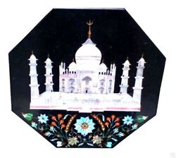 2'x2' Black Marble Coffee Table Top Inlay Tajmahal Marquetry Occasional Gift