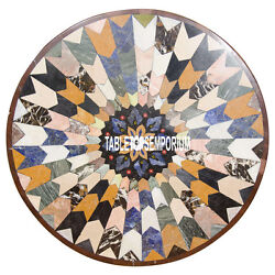 30 Brown Marble Round Multi Stone Table Top Marquetry Inlay Bedroom Decor