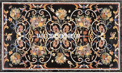 4and039x2.5and039 Beautiful Black Marble Real Dining Table Gems Inlay Patio Mosaic Decor
