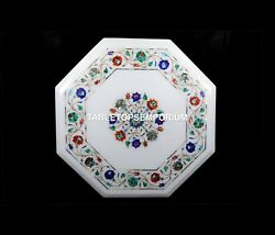 16 White Marble Side Coffee Table Top Multi Floral Inlay Occasion Decor H5399c