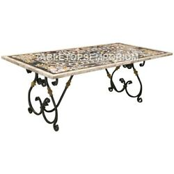 5and039x3and039 Black Marble Dining Countertops Table Marquetry Inlay Furniture Decor E626