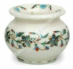 4 Marble White Flower Vase Pauashell Inlaid Floral Decorative Christmas Gift
