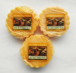 YANKEE CANDLE Wax Tarts HOT BUTTERED RUM Lot Of 3 Tarts