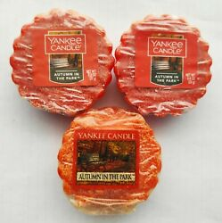 YANKEE CANDLE Wax Tarts AUTUMN IN THE PARK Lot Of 3 Tarts