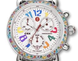 Michele Csx Carousel Watch 36 Mm With Multi Color Gemstone Bezel