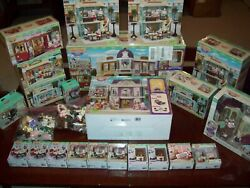 Calico Critters Huge Lot Town Series Manor Gelato Flower Tram Shop New And Used