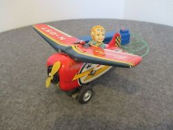1960's Modern Toys Swallow N-057 Battery Operated Tin Loop Plane Works Rare