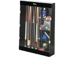 10 Pool Cue Wall Display Case Rack With Shelves Billiards And Free Shipping