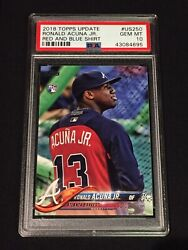 Ronald Acuna 2018 Topps Update Red And Blue Shirt Us250 Sp Braves Rookie Psa 10