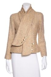 Authentic Gold Toned Metallic Glitter Wool Tweed Jacket W/ Matching Scarf