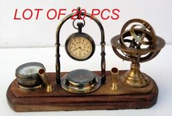 Antique Brass Table Top Clock With Pen Holder Wooden Base Home Office Decor Gift