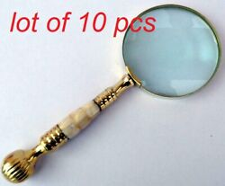 Antique Brass And Mother Of Pearl Magnifying Glass Map Reading Magnifier Good Gift