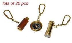 Antique Brass Kaleidoscope, Telescope And Compass Beautiful Key Ring Collectible