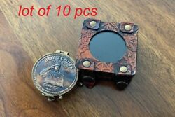 Embossed Boy Scouts Antique Vintage Solid Brass Pocket Compass With Leather Case