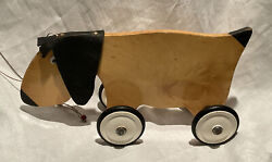 Vintage Hand Made Pull Along Dog Toy Wood Leather Ears Hound Puppy Children Old