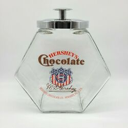 Vintage Hershey's Chocolate Glass Candy Cookie Jar Counter Top Container W/ Lid