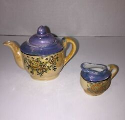 Vintage Mini Tea Pot And Creamer Matching Set Made In Japan Miniature Childs Size