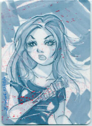 Aceo Sketch Card Buffy The Vampire Slayer And Stake Hand Drawn And Coloured Signed