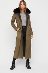 Free People Military Fur Trench Coat-s-750 Msrp