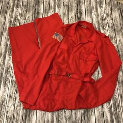 Vtg 70's Toppmaster Jumpsuit Coveralls Large Tall Made Usa Greenville Fire Dept