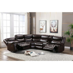 5 Seat Breathable Leather Recliner Sectional Sofa Set W/ Padded Seat Cup Holder