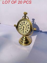 Vintage Brass Table Top Nautical Beautiful Decor Clock With Stand Collectible